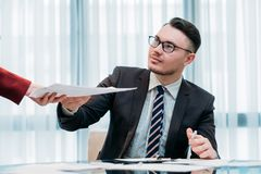 Secretary profession assist boss office workspace stock images