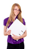 She Secretary keep folder Stock Photo
