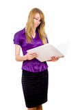 She Secretary keep folder Royalty Free Stock Photo