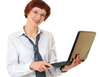 Secretary with the laptop Royalty Free Stock Photos