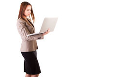 Secretary with a laptop in hands on white background with copysp Royalty Free Stock Photos