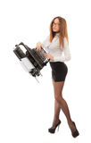 Secretary with long legs Royalty Free Stock Photo