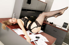 Secretary Messing On Table Royalty Free Stock Photos