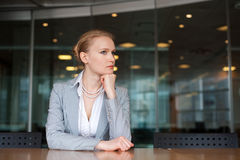 Secretary in the office. Alone sitting on a table Stock Photo