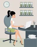 Secretary at office. The color full image, no gradient Royalty Free Stock Photography