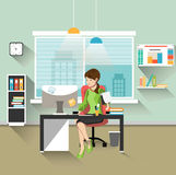 Secretary in office. Businesswoman person, worker woman, work and job, young female, flat vector illustration stock illustration