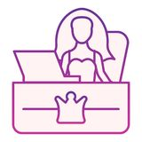 Secretary office flat icon. Girl employer purple icons in trendy flat style. Reception desk gradient style design. Designed for web and app. Eps 10 royalty free illustration