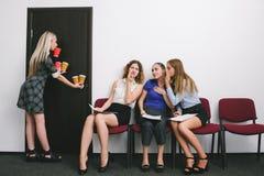 Secretary office work women gossip Royalty Free Stock Images