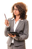 Secretary with pen and tablet Stock Photography