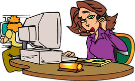 Secretary on phone. With headset Stock Illustration