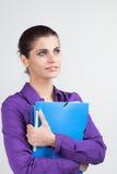 Secretary with plastic folders Stock Photo
