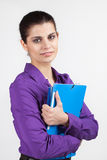 Secretary with plastic folders Royalty Free Stock Photos