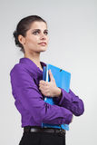 Secretary with plastic folders Royalty Free Stock Images