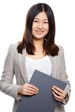 Secretary. Portrait of successful businesswoman with clipboard looking at camera in isolation Stock Images