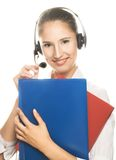 Secretary. Portrait of young smiling woman with book's Royalty Free Stock Photography