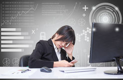 Secretary sat in tense posture Due to the complex and difficult task Royalty Free Stock Photos
