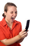 Secretary shouting at her cellphone. Angry secretary shouting at her cellphone. White background royalty free stock images