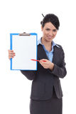 Secretary showing something in notepad Royalty Free Stock Image