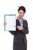 Secretary showing something in notepad Royalty Free Stock Image