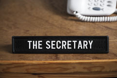 The Secretary - sign for the desk, business and the office. Royalty Free Stock Images