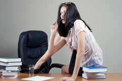 Secretary sit at the table royalty free stock photo