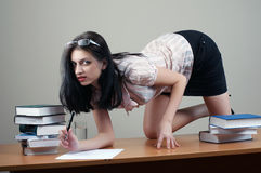 Secretary sit at the table. Focus on eye stock image