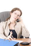 The secretary speaks on phone II. Portrait of the business woman with phone, isolated over white Stock Photo