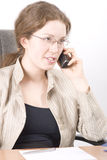 The secretary speaks on phone V. Portrait of the business woman, isolated over white Stock Photos