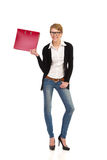 Secretary standing with ring binder. Stock Photography