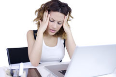 Secretary with strong headache Stock Images