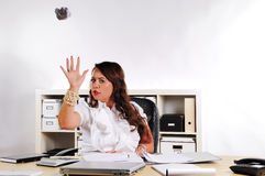 Secretary to throw creased paper Royalty Free Stock Images