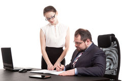 The secretary transfers documents for the signature Royalty Free Stock Image