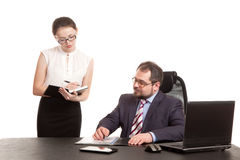 The secretary transfers documents for the signature Stock Photography