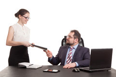 The secretary transfers documents Stock Images
