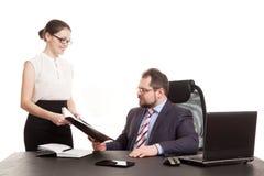 The secretary transfers documents Royalty Free Stock Photo