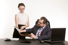 The secretary transfers documents Stock Photo
