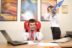 Secretary try to impact on her boss Royalty Free Stock Images