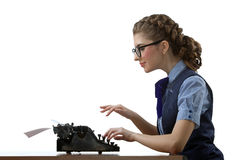 The secretary-typist work Royalty Free Stock Photo