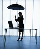 Secretary with umbrella. Stock Image