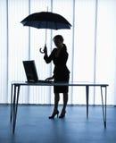 Secretary with umbrella. Stock Image