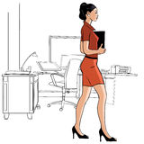 Secretary walking in an office - illustration Royalty Free Stock Photography
