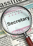 Secretary Wanted. 3D. Stock Image