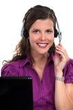 Secretary wearing a headset Stock Photo