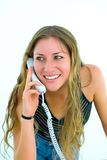 Secretary with white telephone Stock Photos