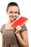 Secretary woman. In headset and red book Royalty Free Stock Image