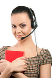 Secretary woman. In headset and red book Stock Images