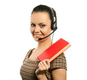 Secretary woman. In headset with red book Stock Images