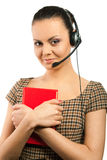 Secretary woman. In headset with red book, isolated over white Stock Photos