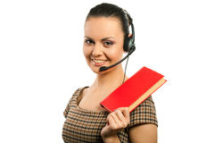Secretary woman. In headset with book, isolated Royalty Free Stock Photo