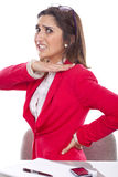 Secretary woman with back pain Stock Images